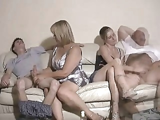 Mother and daughter jerking two guys off amateur cumshot handjob video
