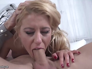 Delightful blonde in a floral dress, Nikky Thorne is eagerly sucking a huge cock, like a pro anal big cock big tits video