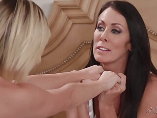 Reagan Foxx and Eliza Jane are making love with each other, in the middle of the day big tits blond brunette video