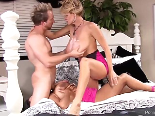 Nasty blonde milf and a dirty brunette are having a great fuck time with a horny man big tits blond brunette video